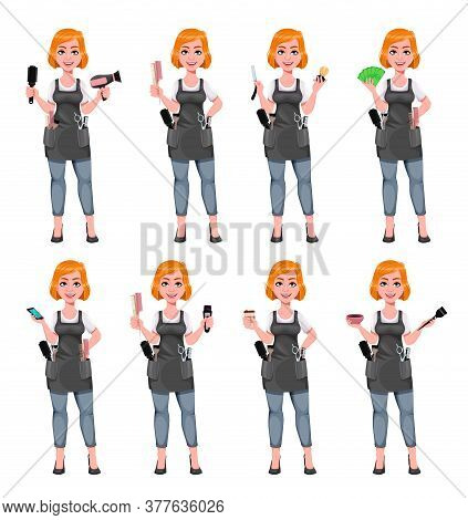 Beautiful Redhead Girl Hairdresser, Set Of Eight Poses. Cute Woman Barber. Female Hairstylist Cartoo