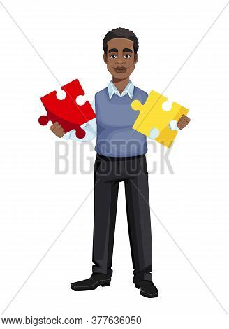 African American Business Man Holding Two Pieces Of Puzzle. Cheerful Handsome Businessman Cartoon Ch