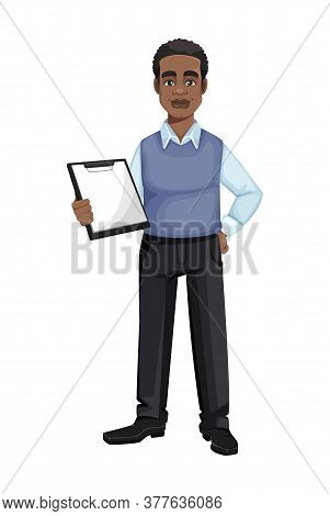 African American Business Man Holding Clipboard. Cheerful Handsome Businessman Cartoon Character. Ve