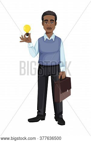 African American Business Man Having A Good Idea. Cheerful Handsome Businessman Cartoon Character. V