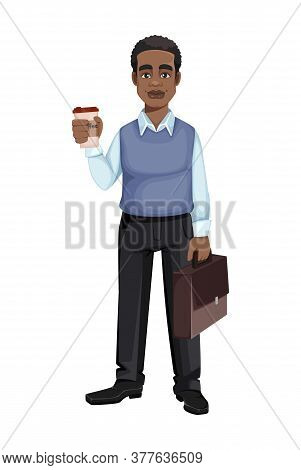 African American Business Man With A Cup Of Coffee And Suitcase. Cheerful Handsome Businessman Carto