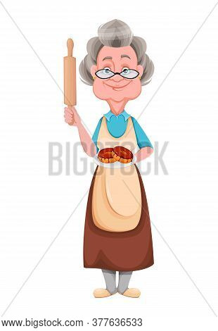 Happy Grandparents Day. Kind Granny Holding Plate With Donuts. Cute Old Woman. Cheerful Grandmother