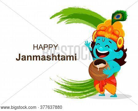 Happy Krishna Janmashtami Sale. Cartoon Character Lord Krishna. Happy Janmashtami Festival Of India.
