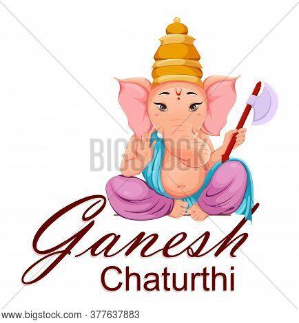 Lord Ganesha, Ganpati Idol In Traditional Indian Clothes For Ganesha Chaturthi Holiday. Design Of Gr
