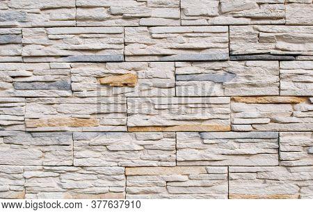 Decorative Bricks In The Interior In Cream And Gray Colors, Brickwork, Wall Design.