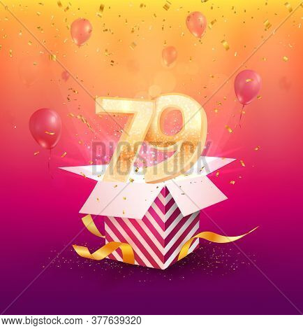 79th Years Anniversary Vector Design Element. Isolated Seventy-nine Years Jubilee With Gift Box, Bal