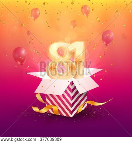 81st Years Anniversary Vector Design Element. Isolated Eighty-one Years Jubilee With Gift Box, Ballo