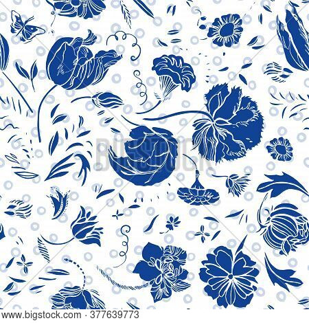 Vector Royal Blue Baroque Elegant Lino Cut Floral Seamless Pattern With Hand Drawn Historic Florals