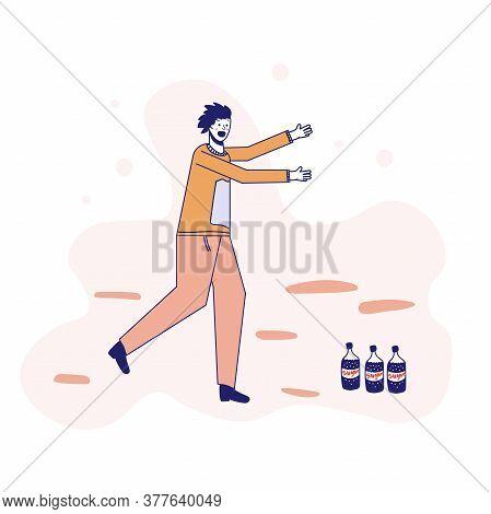 Soda Addiction Concept Illustration. The Man Runs To The Soda Bottles. An Unhealthy Lifestyle, Unhea