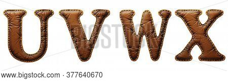 Set of leather letters U, V, W, X uppercase. 3D render font with skin texture isolated on white background. 3d rendering