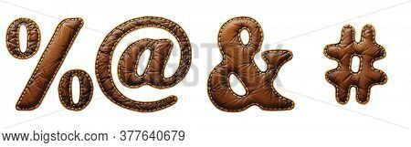 Set of symbols percent, at, ampersand and hash made of leather. 3D render font with skin texture isolated on white background. 3d rendering