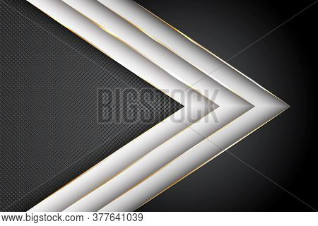 Polygonal Arrow With Gold Triangle Edge Lines Banner Vector Design. Chic Business Background Templat