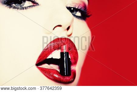 Fashion Lipstick Store - Shopping And Sale. Open Mouth With Lipstick. Women Lips With Red Lipstick.