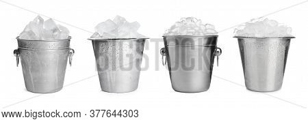 Set Of Different Metal Buckets With Ice Cubes On White Background, Banner Design