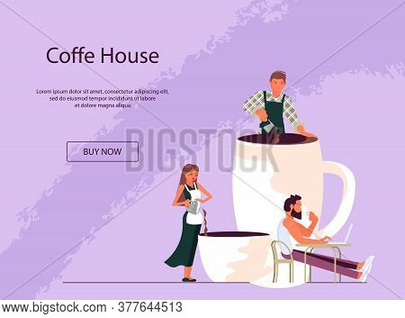 Landing Webpage Template For Coffee Corner With Tiny People And Large Cup Of Coffee. Coffee Break At