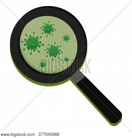 Magnifying Glass With Virus. Magnifying Glass Icon - Vector