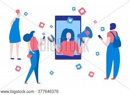 Vector Illustration Influence Marketing.online Engagement Communication Business Or Digital Customer