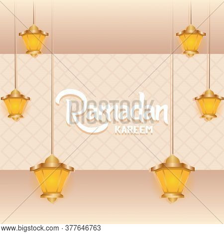 Ramadan Kareem Card With A Lanterns - Vector