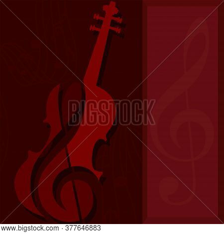Classic Violin Silhouette. String Musical Instrument - Vector