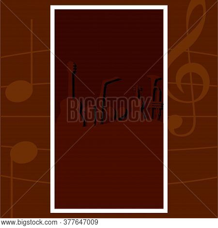 Silhouette Of A Musical Instruments Over A Musical Notes Background - Vector