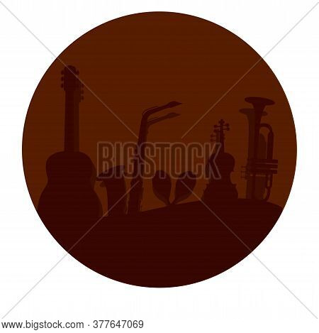 Musical Background In A Button. Musical Instruments - Vector