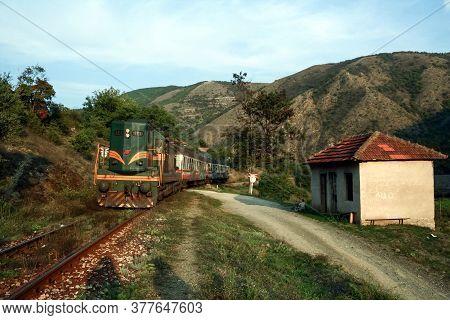 Mitrovica, Kosovo - September 27, 2009: Diesel Passenger Train From Srbija Voz, The Serbian Railways