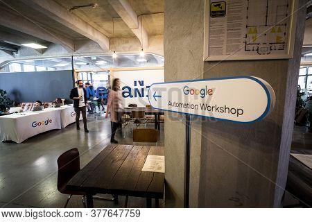 Bucharest, Romania - February 12, 2020: Google Logo On Entrance Of A Workshop On Automated Bidding.