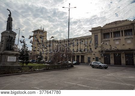 Bucharest, Romania - February 15, 2020: Main Facade Of Gara De Nord, The Main Railway Station Of Buc