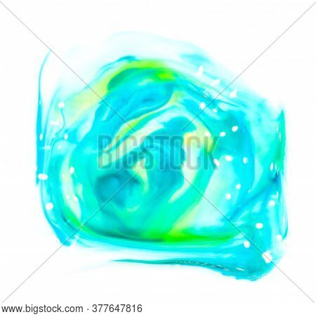 Fresh Wet Glossy Bright Colorful Vibrant Hand Painted Isolated Watercolor Spot Splash On White Backg