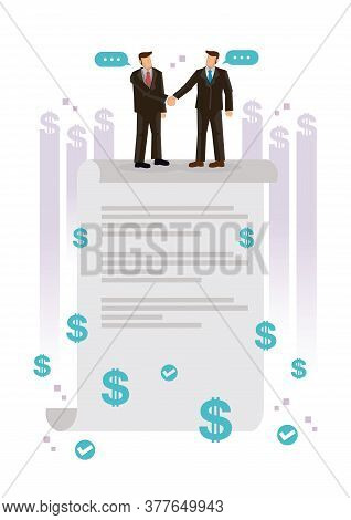 Business People Standing On A Signed Contract. Concept Business Contract Agreement. Flat Cartoon Cha