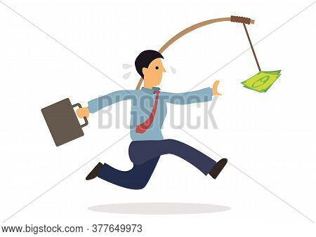 Businessman Runs For Money. Concept For Rat Race Or Greed. Flat Cartoon Character Vector Illustratio