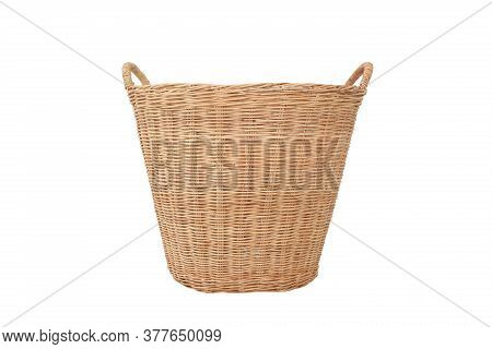 Rattan Wicker Basket Isolated On White Background