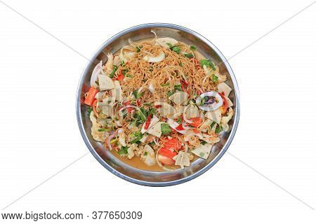Spicy Instant Noodle Salad In Aluminium Tray Isolated On White Background - Thai Food