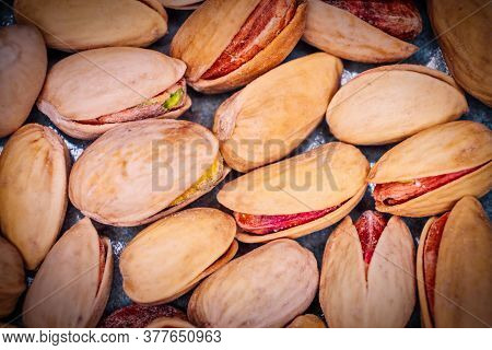 Pistachios Macro Image. Dryed Nuts Top View