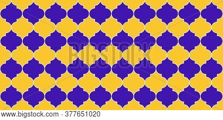 Eid Mubarak Muslim Background. Traditional Ramadan Mosque Golden Motif. Seamless Moroccan Texture Tu