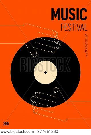 Music Poster Design Template Background With Vinyl Record And Hand Outline. Design Element Template