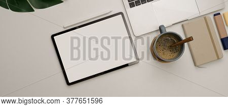 Office Desk With Mock Up Tablet, Laptop, Coffee Cup And Stationery