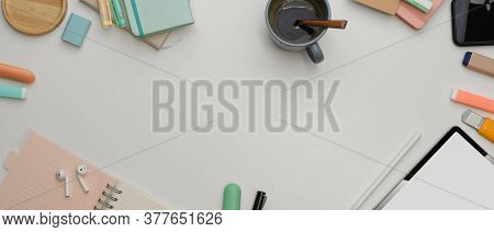 Mock Up Scene Creator With Mock Up Tablet, Stationery, Earphone, Coffee Cup And Copy Space On White