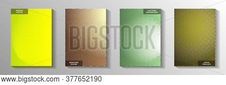 Elegant Dot Screen Tone Gradation Front Page Templates Vector Series. Industrial Flyer Faded Screen