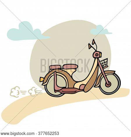 Monochrome Retro Color Motorcycle. Cartoon Motorcycle In 2020 Color Trend. Flat Vector Illustration