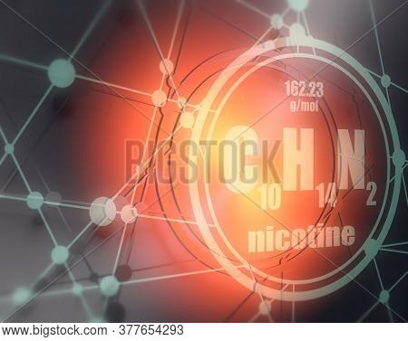 Chemical Formula Of Nicotine. Connected Lines With Dots Background. 3d Rendering