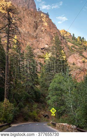 A Long Way Down The Road Of Colorado Springs, Colorado