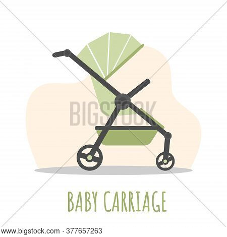 Baby Carriage Icon. Green Pram On White Background. Vector Illustrations In Flat Style.