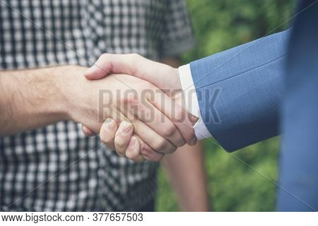 Business Partners Shaking Hands Together In Green Ecosystem Park Introduce Greeting Start Up New Eco