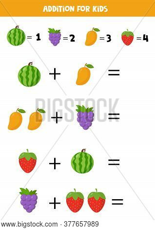 Addition With Different Fruits. Cartoon Watermelon, Mango, Grape, Strawberry.