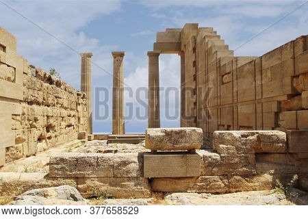 Acropolis Of Lindos, The Ruins Of An Ancient Temple And The Remains Of The Doric Columns. Lindos, Rh