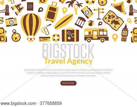 Travel Agency Landing Page Template, Tourism, Vacation, Journey Web Page, Mobile App, Homepage Vecto