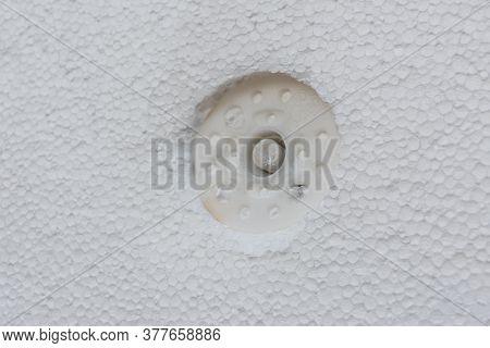 Insulation Of House With Styrofoam. Energy Saving Concept. Closeup
