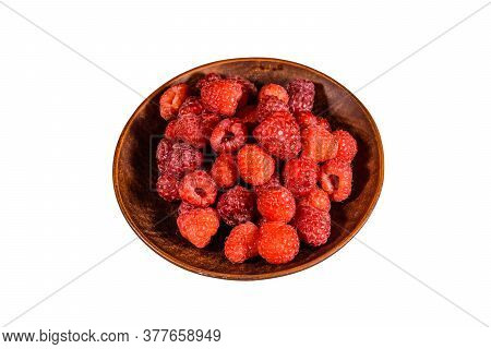 Ceramic Plate With Ripe Raspberries Isolated On White Background