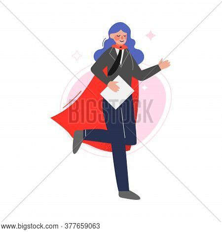 Super Businesswoman Wearing Red Waving Cape With Paper Documents, Successful Superhero Business Char